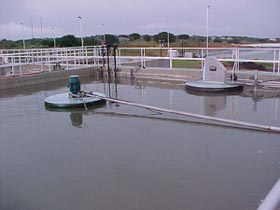 Wastewater Treatment plant with a large pool of water