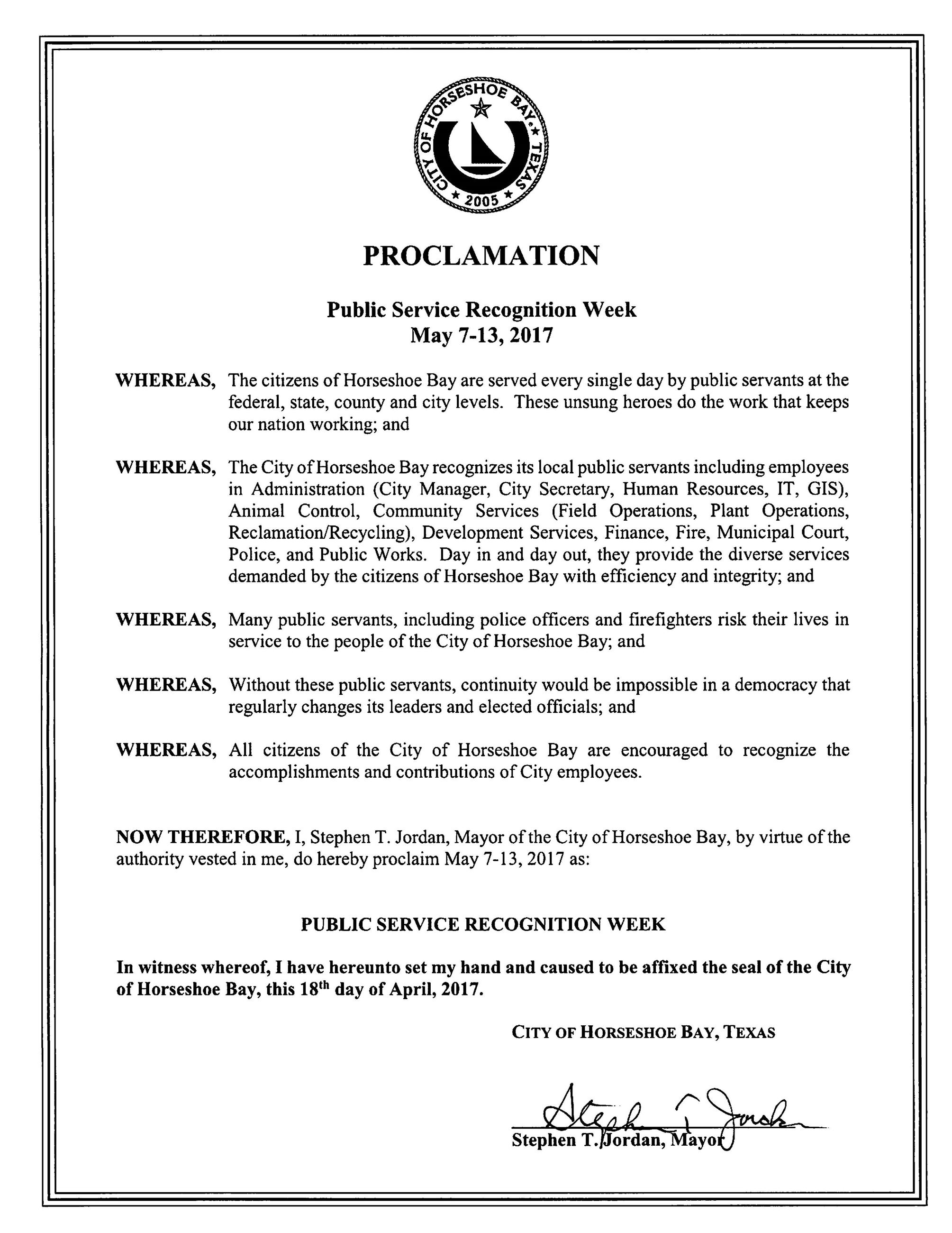 2017 May 7-13 Public Service Recognition Week 04.18.2017